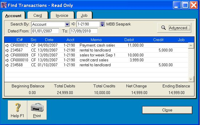 Find transaction in MYOB